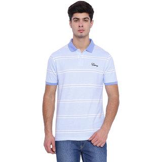 Edberry Men's  Blue Striped Polo Neck T-Shirt