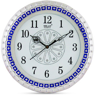 Factorywala Silver And Blue Analogue Wall Clock