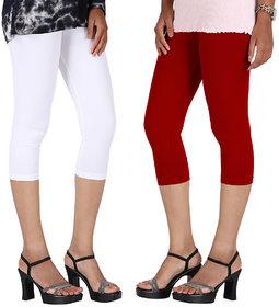 Perfect White  Red Cotton Lycra Capri