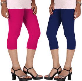 Perfect Pink  Royal Blue Cotton Lycra Capri