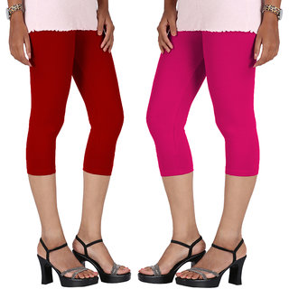 Perfect Red  Pink Cotton Lycra Capri