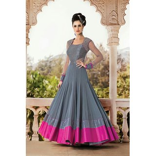 Edeal Online Grey Georgette Embroidered Anarkali DreesSuit Material