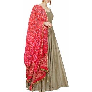 Edeal Online Beige Banglori Silk Anarkali Drees