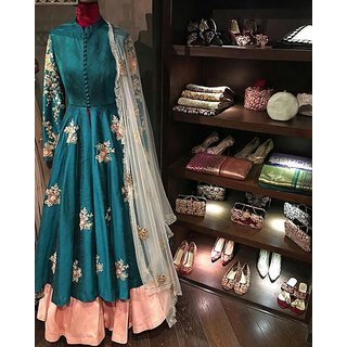 Edeal Online Rama And Orenge Banglori Silk Anarkali Drees