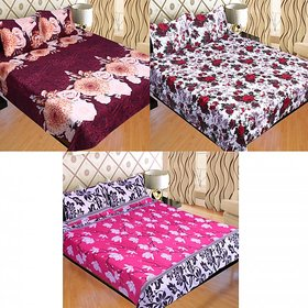 Sns Combo Of Three Double Bed Poly Cotton Sheets