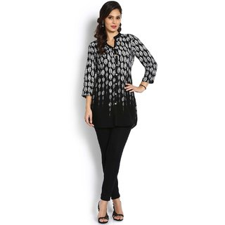 Soch White And Black Rayon Kurti