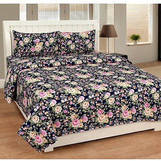 Home Diva Polycotton Multicolor 3D Printed Double  Bed Sheet With 2 Pillow Covers- (HDB019)