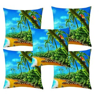Home Diva Multicolor Polyester Digital print Cushion Covers Set of 5- (HDCC005)