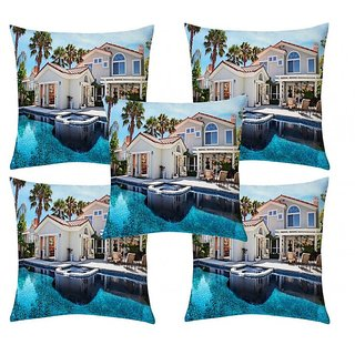 Home Diva Multicolor Polyester Digital print Cushion Covers Set of 5- (HDCC010)