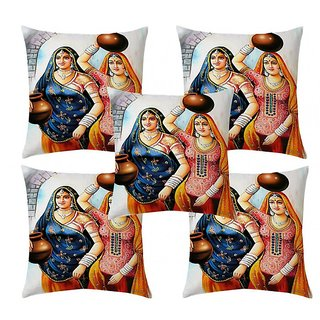 Home Diva Multicolor Polyester Digital print Cushion Covers Set of 5- (HDCC018)