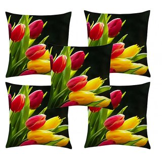 Home Diva Multicolor Polyester Digital print Cushion Covers Set of 5- (HDCC033)