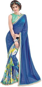Meia Multicolor Chiffon Graphic Print Saree With Blouse