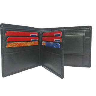 PLC 4 MENS GENUINE BLACK LEATHER WALLET