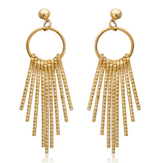 Spargz Trendy Gold Plated Hanging Long Stick Earrings For Women AIER 679