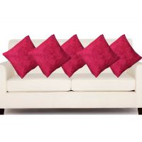Hard Rock Set Of 5 Attractive Rose Design Cushion Cover-dark Pink