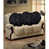 Hard Rock Set Of 5 Attractive Circle Rose Design Cushion Cover-black