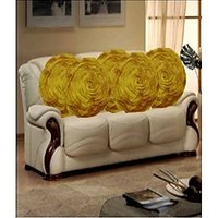 Hard Rock Set Of 5 Attractive Circle Rose Design Cushion Cover-yellow