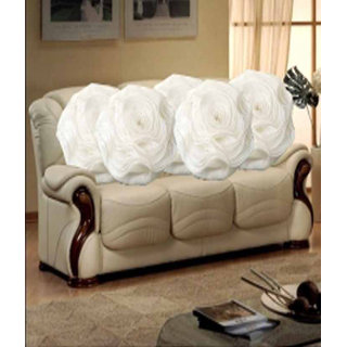 Hard Rock Set Of 5 Attractive Circle Rose Design Cushion Cover-white