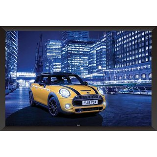 HungOver  Mini Cooper S Poster  With Frame Single Piece (Size 12 x 9)