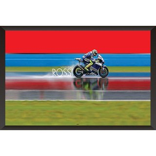 HungOver  Valentino Rossi Poster With Frame Single Piece (Size 12 x 9)