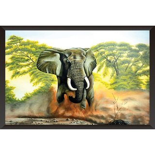 HungOver  Elephant Poster  With Frame Single Piece (Size 12 x 9)