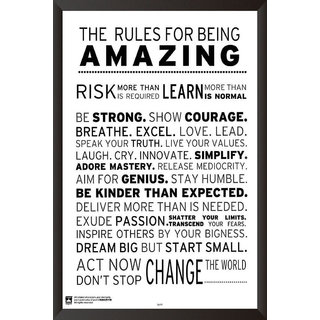 HungOver  Rules For Being Amazing Poster  With Frame Single Piece (Size 12 x 9)