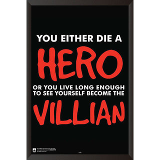 HungOver  Hero Or Villian Poster  With Frame Single Piece (Size 12 x 9)