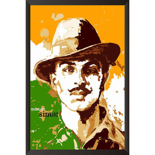 HungOver  Bhagat Singh Poster  With Frame Single Piece (Size 12 x 9)