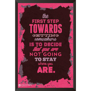 HungOver  The First Step Towards Getting Somewhere Poster  With Frame Single Piece (Size 12 x 9)
