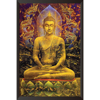 HungOver  Gautam Buddha Poster  With Frame Single Piece (Size 12 x 9)