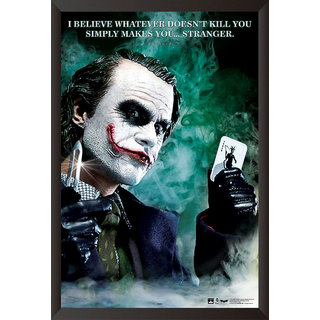 HungOver Dark Knight Joker Poster for Home and Office With Frame Single Piece Size (12x9  Inches)