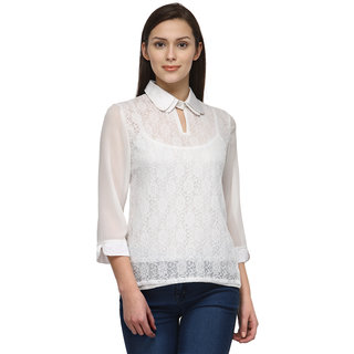 Tunic Nation Women's White 100 Polyester Lace top