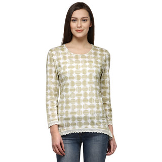 Tunic Nation Women's Beige 100 cotton Knitted Top