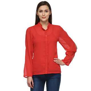 Tunic Nation Women's RED 100% Polyester Sequence Top