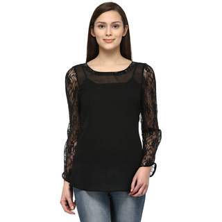Tunic Nation Women's Black 100 Polyester Lace Top