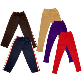 Indistar Girls 2 Cotton Lower and 3 Cotton Legging ( Pack of 5)_Multiple_5-6 Years