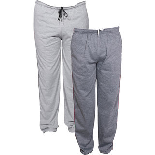 Indistar Men's Premium 1 Cotton and 1 Warm Wollen Lower/Track Pants with 1 Zipper Pocket and 1 Open Pocket For Winter (Pack of-2)_Grey::Drak Grey_Size-38