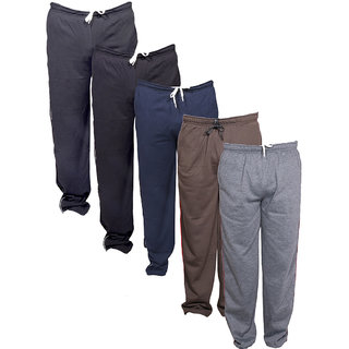 Indistar Men's Premium 3 Cotton and 2 Warm Wollen Lower/Track Pants with 1 Zipper Pocket and 1 Open Pocket For Winter (Pack of-5)_Multiple_Size-38