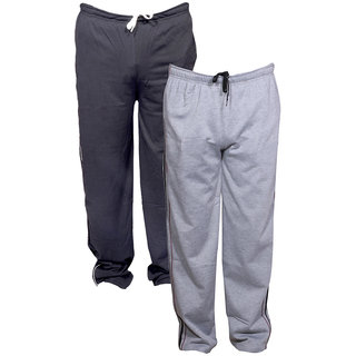 Indistar Men's Premium 1 Cotton and 1 Warm Wollen Lower/Track Pants with 1 Zipper Pocket and 1 Open Pocket For Winter (Pack of-2)_Blue::Gray_Size-38