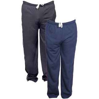 Indistar Men's Premium 1 Cotton and 1 Warm Wollen Lower/Track Pants with 1 Zipper Pocket and 1 Open Pocket For Winter (Pack of-2)_Blue::Blue_Size-40