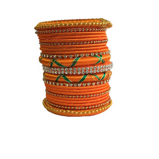 Kuhuk Multi Color Silk Thread Plastic Bangle Set PIY0201