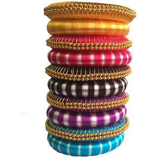 Kuhuk Multi Color Silk Thread Plastic Bangle Set PIY0223