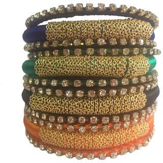 Kuhuk Multi Color Silk Thread Plastic Bangle Set PIY0252