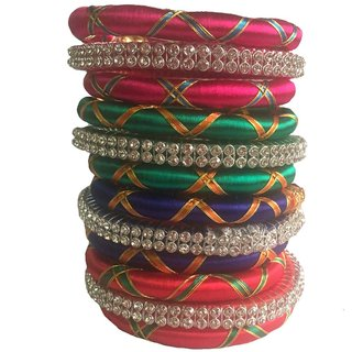 Kuhuk Multi Color Silk Thread Plastic Bangle Set PIY0253