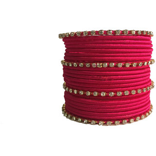 Kuhuk Multi Color Silk Thread Plastic Bangle Set PIY0267