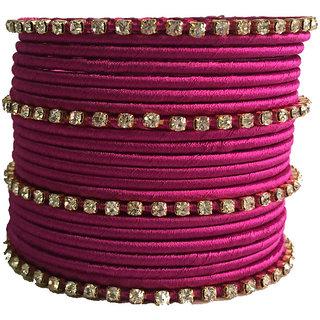 Kuhuk Multi Color Silk Thread Plastic Bangle Set PIY0268
