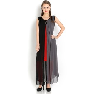 Shiloh Black and Grey Georgette party wear Kurti