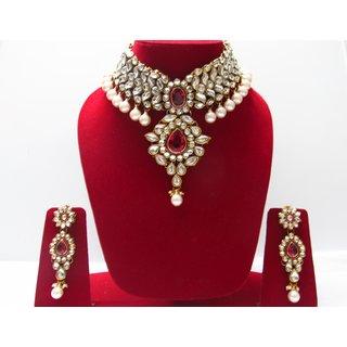 Kundan Jewellery Set In Pink Stones With Earings And Maang Tikka