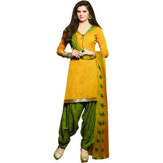 Sareemall Yellow  Dress Material with Matching Dupatta BSP35001 (Unstitched)