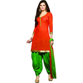 Sareemall Orange Dress Material with Matching Dupatta BSP35011